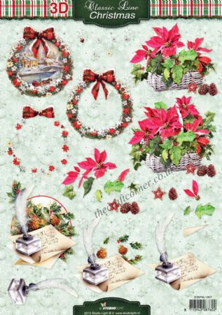 Christmas Flower Arrangements 3d Decoupage Craft Sheet